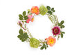 Floral round crown wreath with flowers and leaves. Royalty Free Stock Photo