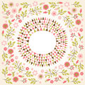 Floral round frame greeting card Stock Image