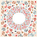 Floral round frame vector illustration Royalty Free Stock Images