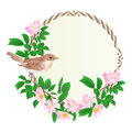 Floral round frame with wild Roses and cute small singing bird vintage festive background vector