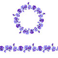 Floral round garland and endless pattern brush made of violas.