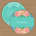 Floral round invitation template