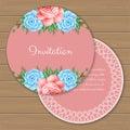 Floral round invitation template