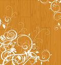 Floral scroll on wooden background Royalty Free Stock Image