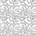 Floral seamless abstract black and white pattern Royalty Free Stock Photo