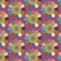 Floral seamless abstract vector pattern, repeating vintage retro background Royalty Free Stock Photo
