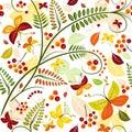 Floral seamless autumn pattern Royalty Free Stock Photo