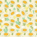 Floral seamless baby pattern camomiles delicate t texture daisy bright background with spring flowers poppies Royalty Free Stock Images