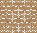 Floral seamless background abstract beige and brown floral geometric seamless texture vector lacy pattern on grey Royalty Free Stock Image