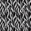 Floral seamless background abstract black and white floral geometric seamless texture vector textile tile pattern on light Stock Images