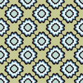 Floral seamless background abstract green and blue floral geometric seamless texture vector textile tile pattern on light ornament Royalty Free Stock Photos