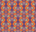 Floral seamless background abstract orange and violet floral geometric seamless texture vector textile tile pattern on light Royalty Free Stock Photo