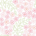 Floral seamless background abstract ornament geom flower forget me not gentle carpet illustration over white pattern with leaves Stock Photography