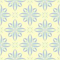 Floral seamless background. Blue and green flower pattern on beige backdrop Royalty Free Stock Photo