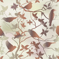 Floral seamless background spring seamless pattern with branch and bird repeating in chinese style vector illustration Stock Photography