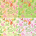 Floral seamless vector backgrounds with nature elements - set Royalty Free Stock Photo