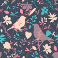 Floral seamless with birds imitating applique Royalty Free Stock Photos
