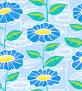 Floral seamless blue and yelow background Royalty Free Stock Image