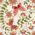 Floral seamless with butterfly vector illustration Stock Photos