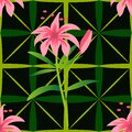 Floral seamless checkered pattern with pink lilies