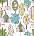 Floral seamless decorative pattern. Doodle background with leafs Royalty Free Stock Photo