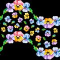 Floral seamless horizontal border pattern as wave of single flowers and a bouquet of color viola, pansy, heartsease and leaves on