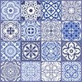 Floral seamless mosaic tile. Vector ceramic vintage pattern. Mediterranean, Ottoman Royalty Free Stock Photo