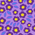 Floral seamless ornamental pattern with purple violets Royalty Free Stock Photo