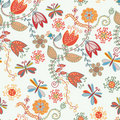 Floral seamless ornate pattern with tulips Royalty Free Stock Photography