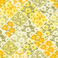 Floral seamless patchwork pattern. Bright summer flowers