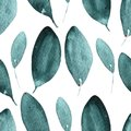 Floral Seamless Pattern With abstract Green Leaves isolated On White background. Summer or spring watercolor painting. Hand paint