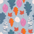 Floral seamless pattern with autumn grunge blue, red, orange, white, pink tree leaves on pastel blue background. Maple, Elm, Oak,