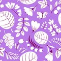 Floral seamless pattern. Background with flowers and leaves. Vector illustration with natural objects