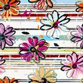 Floral seamless pattern background, with stripes, paint strokes