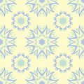 Floral seamless pattern. Beige background with light blue and green flower elements Royalty Free Stock Photo