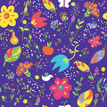 Floral seamless pattern with bird cute design Stock Images