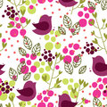 Floral seamless pattern with birds leaves and dots Stock Image
