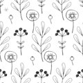 Floral Seamless Pattern. Black and white Hand-drawn Pattern of Various Plants, Flowers and Berries. Vector Pattern on a White