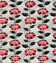 Floral seamless pattern bllack and red Royalty Free Stock Image