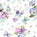 Floral Seamless Pattern with Blooming Flowers and Flying Butterflies. Watercolor Nature Background for Fabric, Wallpaper