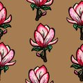 Floral seamless pattern. Blooming magnolia on a brown background. Print for fabric and other surfaces. Raster illustration