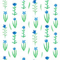 Floral seamless pattern blue flowers with green leafs. Royalty Free Stock Photo