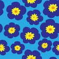 Floral seamless pattern with blue violets on a blue background Royalty Free Stock Photo