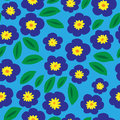 Floral seamless pattern with blue violets and leaves Royalty Free Stock Photo