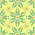 Floral seamless pattern. Bright colored background with pink and green flower elements