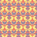 Floral seamless pattern. Bright pink orange background with yellow and blue flower elements