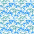 Floral seamless pattern, cartoon cute light blue flowers white background Royalty Free Stock Photo