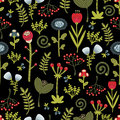 Floral seamless pattern with cartoon flowers vector beautiful texture Royalty Free Stock Images