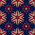 Floral seamless pattern. Colored red and blue background