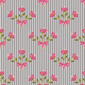 Floral seamless pattern with colorful flowers on striped Stock Photos